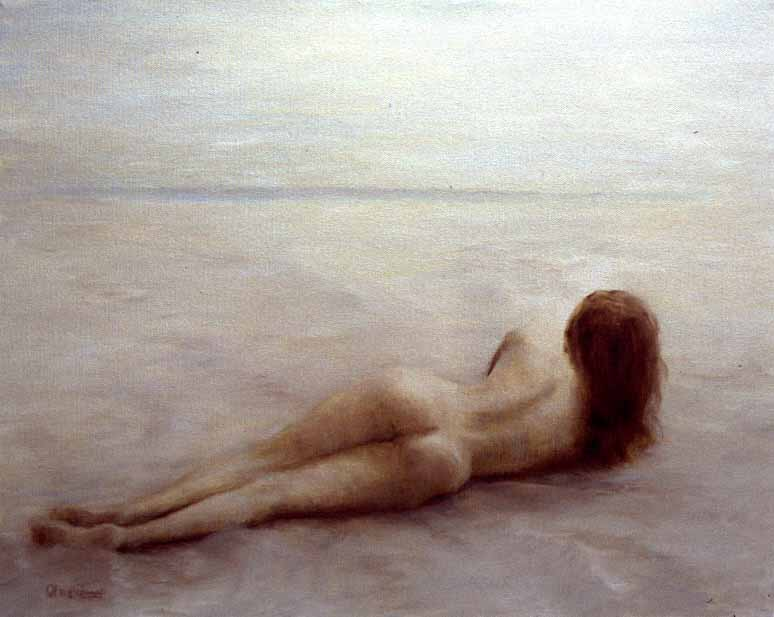 Nude contemplating mysterious horizon